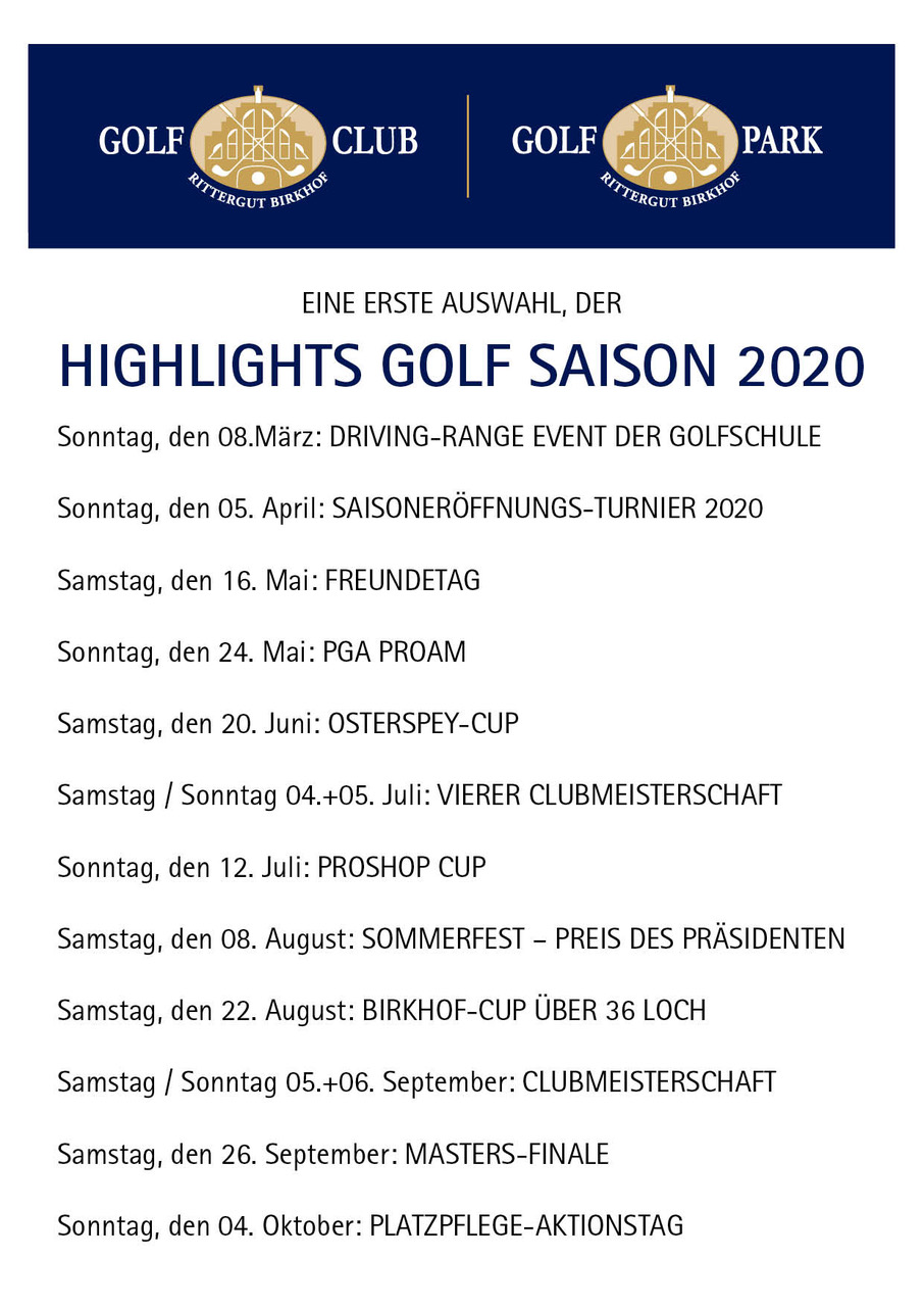 Highlights Golf Saision 2020